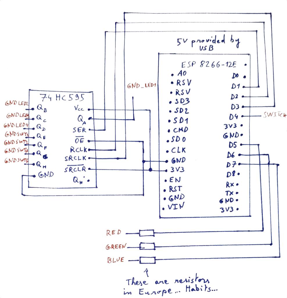 Button pad with ESP8266-12E schematics
